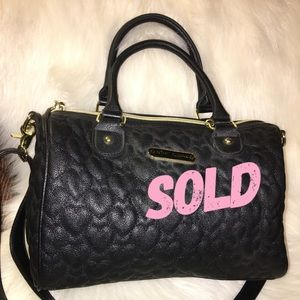 SOLD! BETSEY JOHNSON Black Quilted Hearts Satchel
